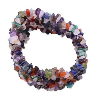 Handmade Multi-gemstone 'Rainbow Girl' Beaded Bracelet (India)