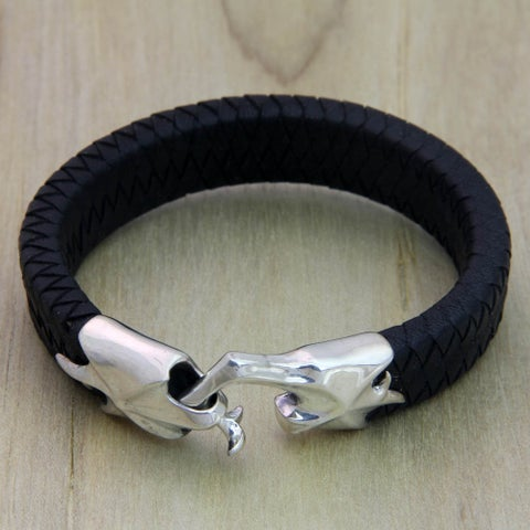 Hand In Hand Handmade Artisan Designer Men's Handsome Fashion Dark Braided Leather Sterling Silver Jewelry Bracelet (Indonesia)