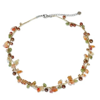 Handcrafted Multicolor Freshwater Pearl and Carnelian Tropical Elite Strand Necklace (3-5 mm)(Thailand)