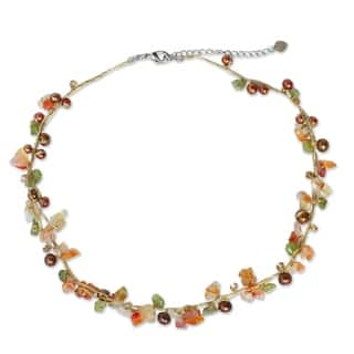 Handmade Multicolor Freshwater Pearl and Carnelian Tropical Elite Strand Necklace (3-5 mm)(Thailand)|https://ak1.ostkcdn.com/images/products/4655774/P12580079.jpg?impolicy=medium