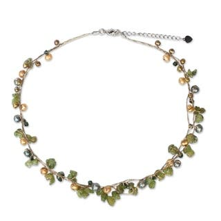 Handmade By Golden Silk Freshwater Pearl and Peridot Tropical Elite Strand Necklace (Thailand)|https://ak1.ostkcdn.com/images/products/4655775/P12580080.jpg?impolicy=medium