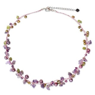 Handcarfted Freshwater Pearl and Amethyst Tropical Elite Strand Necklace (Thailand) (3-5 mm)