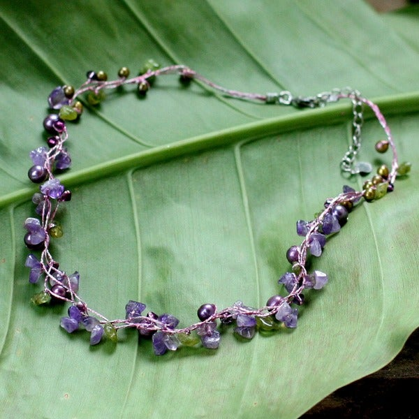 Handmade Freshwater Pearl and Amethyst Tropical Elite Strand Necklace (Thailand) (3-5 mm)