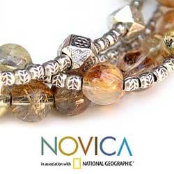 Silver 'Bold Gold' Rutile Quartz Beaded Bracelet (Thailand)