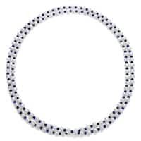 DaVonna White FW Pearl and Blue Sapphire 50-inch Endless Necklace (7-7.5 mm)