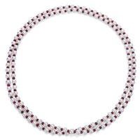 DaVonna 7-8mm White Freshwater Pearl and Red Ruby Endless Necklace 50-inch