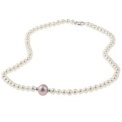 DaVonna Sterling Silver White and Pink FW Pearl Necklace (4-12 mm)