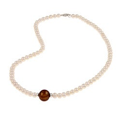 Sterling Silver White and Brown Freshwater Pearl Necklace (4-12 mm)