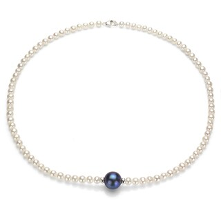DaVonna Sterling Silver 4-5mm White and 11-12mm Black Freshwater Pearl Necklace 16""