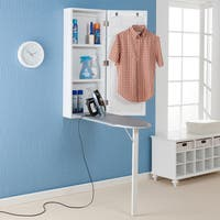 Harper Blvd Wall-mounted Ironing Board and Storage Center - Off-white