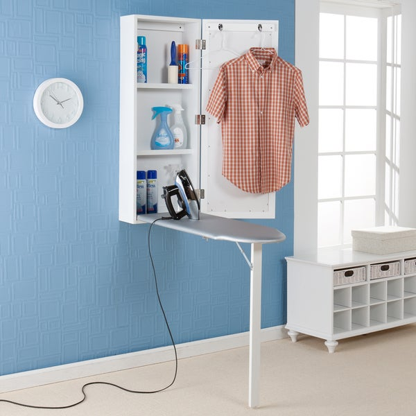 Wall Hanging Ironing Board harper blvd wall-mounted ironing board and storage center - free