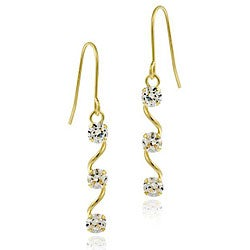 Icz Stonez 10k Gold Cubic Zirconia Dangling Swirl Earrings