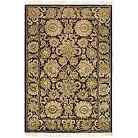 Safavieh Handmade Heirloom Burgundy/ Black Wool Rug (4' x 6')