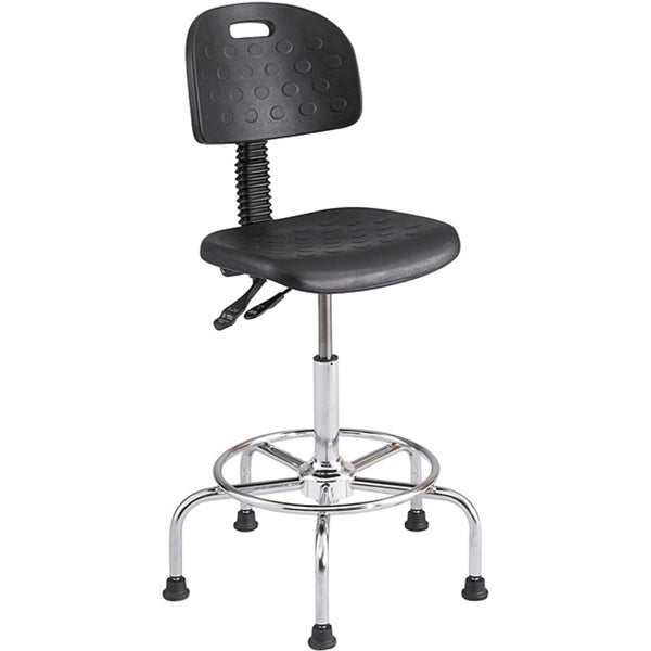 Safco Workfit Deluxe Industrial Chair with Footrest and Pneumatic Height Adjustment - Black