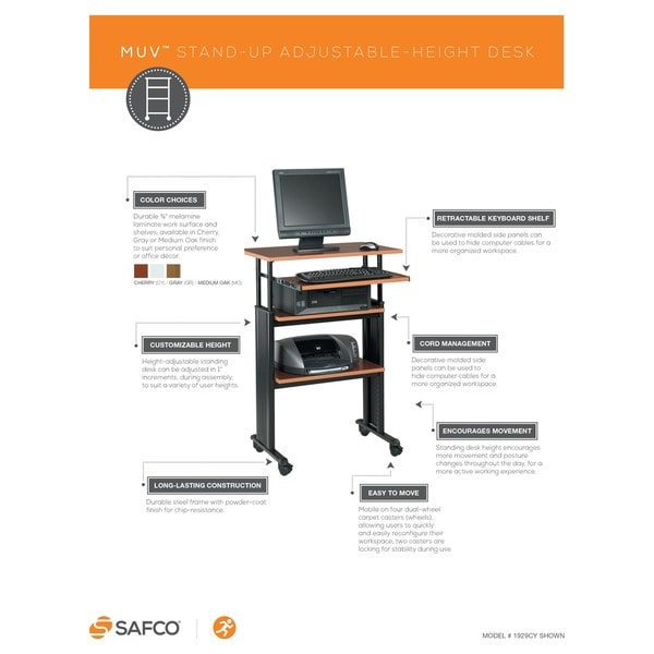 Perfect Safco Muv Stand Up Adjustable Height Computer Workstation Desk With  Keyboard Shelf   Free Shipping Today   Overstock.com   12580961