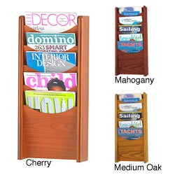 Safco 5-pocket Wood Magazine Rack (Option: Red)