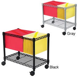 Seville Classics Heavy Duty Chrome File Cart With Storage