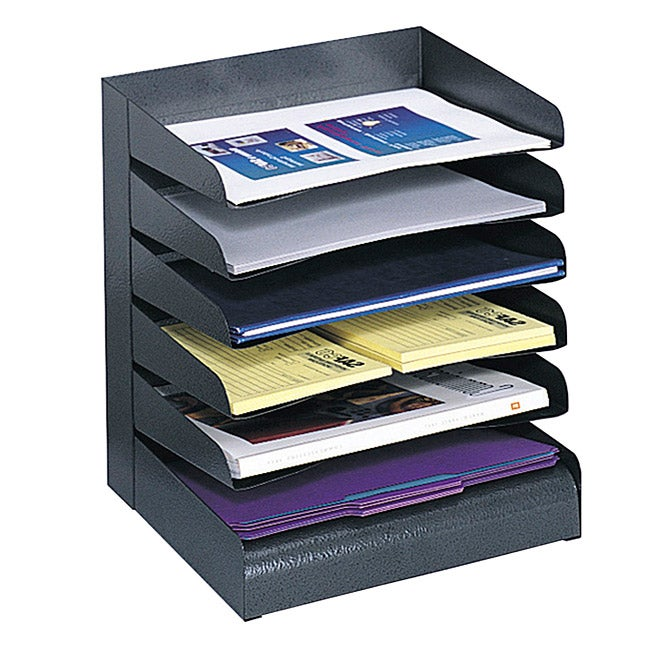 Safco Steel Black 6-tier Desk Tray - Thumbnail 0