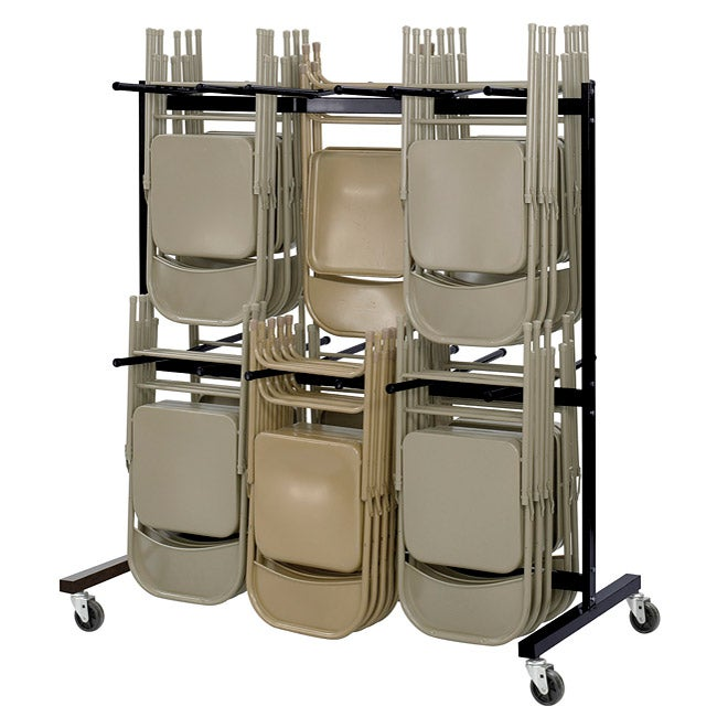 Safco Black Two Tier Steel Folding Chair Cart Stores Up