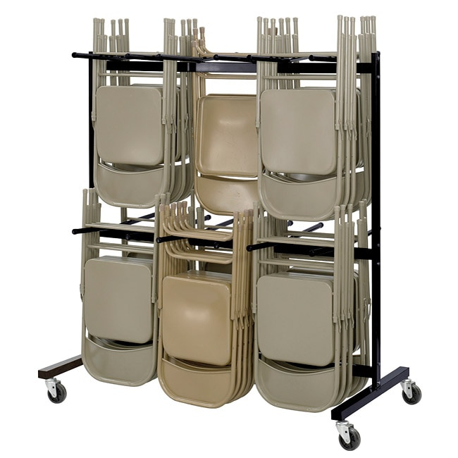 Safco Black Two Tier Steel Folding Chair Cart Stores Up To 84 Chairs Free Shipping Today