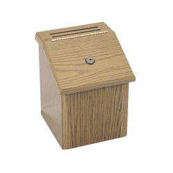 Safco Medium Oak Wood Suggestion Box with Cards and Two Keys