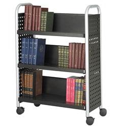 Thumbnail 1, Safco Scoot Single Sided 3-Shelf Book Cart.