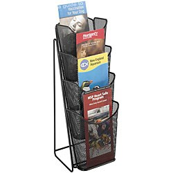 Safco Onyx Mesh 4-pocket Black Pamphlet Display Stand