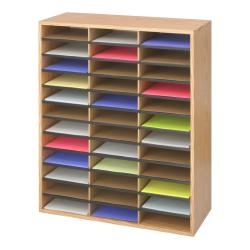 Safco 36-compartment Corrugated Wood Literature Organizer - Thumbnail 2