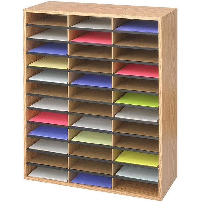 Safco 36-compartment Corrugated Wood Literature Organizer
