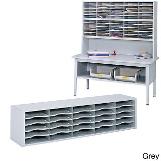 Safco E-Z Sort Gray Solid Steel Mail Sorter with Adjustable Shelves