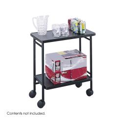 Safco Black Steel Folding Wheeled Beverage Cart with Two Shelves