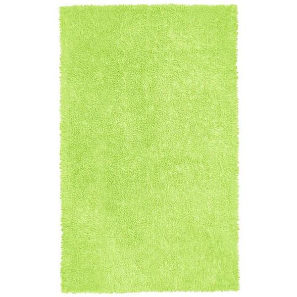 Hand-woven Chenille Green Shag Rug (2'6 x 4'2)