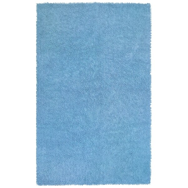 "Handwoven Blue Chenille Shag Accent Rug (2'6"" x 4'2"") - 2'6"" x 4'2"""