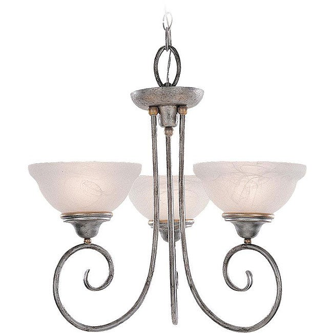 Athenia Alabaster Glass 3-light Silver Patina Chandelier