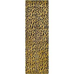 Safavieh Handmade Soho Leopard Skin Beige N. Z. Wool Runner (2'6 x 12')