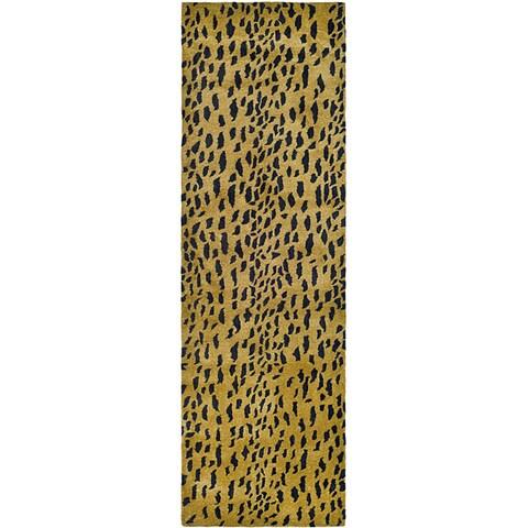 "Safavieh Handmade Soho Leopard Skin Beige N. Z. Wool Runner - 2'6"" x 8'"
