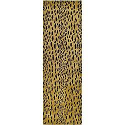 Safavieh Handmade Soho Leopard Skin Beige N. Z. Wool Runner (2'6 x 8)