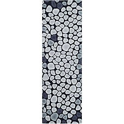 Safavieh Handmade Soho Pebbles Black/ Grey N. Z. Wool Runner (2'6 x 12')