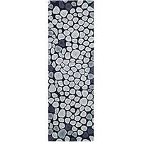 Safavieh Handmade Soho Pebbles Black/ Grey N. Z. Wool Runner Rug - 2'6 x 12'