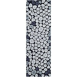 Safavieh Handmade Soho Pebbles Black/ Grey N. Z. Wool Runner (2'6 x 8')