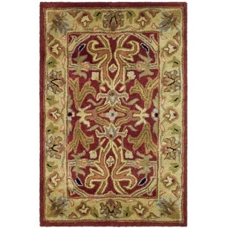 Safavieh Handmade Heritage Timeless Traditional Red/ Gold Wool Rug (2' x 3')