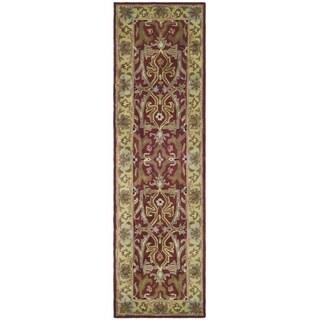 Safavieh Handmade Heritage Timeless Traditional Red/ Gold Wool Runner (2'3 x 12')
