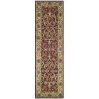 "Safavieh Handmade Heritage Timeless Traditional Red/ Gold Wool Runner Rug - 2'3"" x 8'"