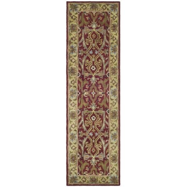 Safavieh Handmade Heritage Timeless Traditional Red/ Gold Wool Runner (2'3 x 8')