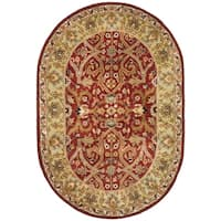 "Safavieh Handmade Heritage Timeless Traditional Red/ Gold Wool Rug - 4'6"" x 6'6"" oval"