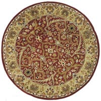 Safavieh Handmade Heritage Timeless Traditional Red/ Gold Wool Rug - 6' x 6' Round