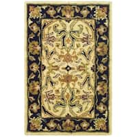 Safavieh Handmade Heritage Timeless Traditional Ivory/ Black Wool Rug - 2' x 3'