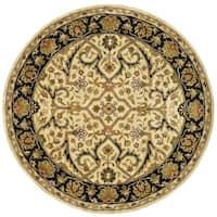 Safavieh Handmade Heritage Timeless Traditional Ivory/ Black Wool Rug - 6' x 6' Round