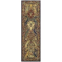 "Safavieh Handmade Heritage Timeless Traditional Multicolor/ Burgundy Wool Runner Rug - 2'3"" x 12'"