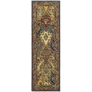 Safavieh Handmade Heritage Timeless Traditional Multicolor/ Burgundy Wool Runner (2'3 x 8')